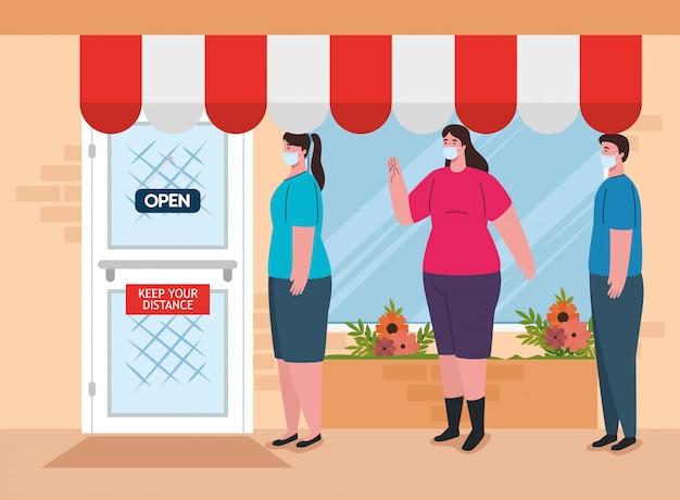 Mensen staan in de rij in de rij om te winkelen, sociale afstand, preventiemaatregel, stappen om jezelf te beschermen, afstand te houden, preventie coronavirus covid 19