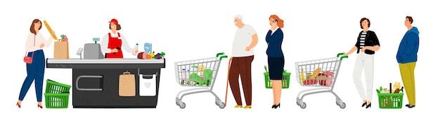 Mensen staan in de rij in de supermarkt.