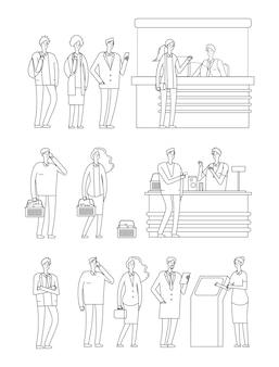 Mensen staan in de rij. man vrouw wachtrijen. geïsoleerde lijntekens op kassa's. persoon in kruidenier, station en bank