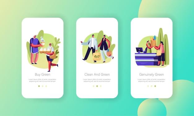 Mensen staan in de wachtrij met herbruikbare verpakking, mannelijke en vrouwelijke personages gebruiken eco pack om te winkelen mobiele app-pagina onboard screen set concept