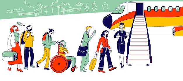 Mensen staan in de wachtrij op het vliegtuig op de luchthaven. tekens aan boord van het vliegtuig. reizigers gaan naar vliegtuigen, passagiers en stewardess staan op jet ladder om aan boord te gaan voor reizen. lineaire vectorillustratie