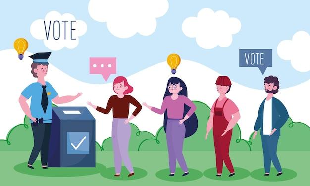 Mensen staan in een lange rij om hun stem uit te brengen in de verkiezingsillustratie