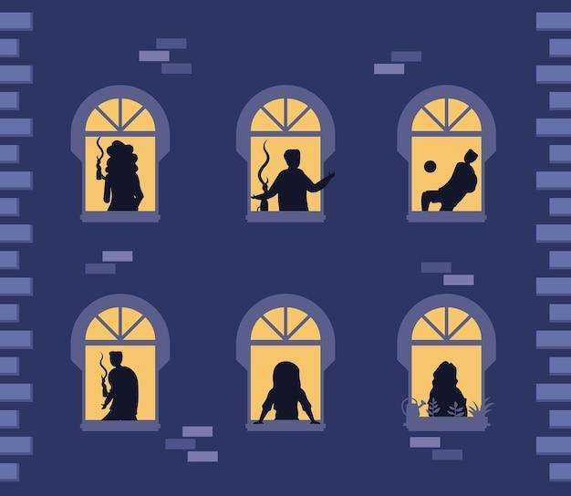 Mensen staan in ramen