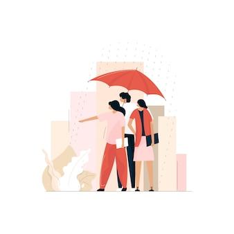 Mensen staan onder paraplu op regenachtige dag, vrienden genieten van regen