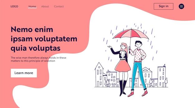 Mensen staan onder paraplu op regenachtige dag