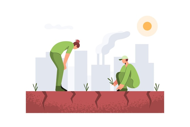 Mensen staan op droge grond klimaatverandering concept in plat ontwerp