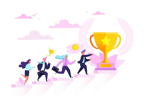 Mensen staan op het staafdiagram van de groei. idee van prestatie en vooruitgang. op weg naar succes. financiële groei. illustratie