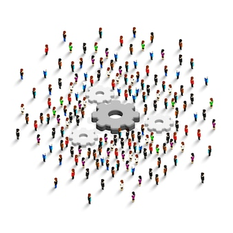 Mensen staan rond een versnelling op een witte achtergrond. vector illustratie