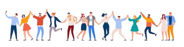 Mensen staan samen. gelukkig mannen en vrouwen hand in hand. glimlachende mensen staan in rij samen platte vectorillustratie. stripfiguur van lachende menigte