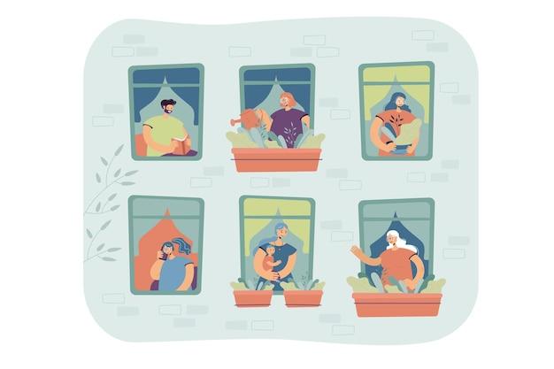 Mensen staan voor ramen in hun appartement, huisplanten water geven, praten over de cel, genieten van vrije tijd. externe weergave van de gevel van het gebouw