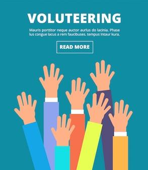Mensen staken handen op, stemden met hun armen. vrijwilligerswerk, liefdadigheid, donatie en solidariteit vector concept