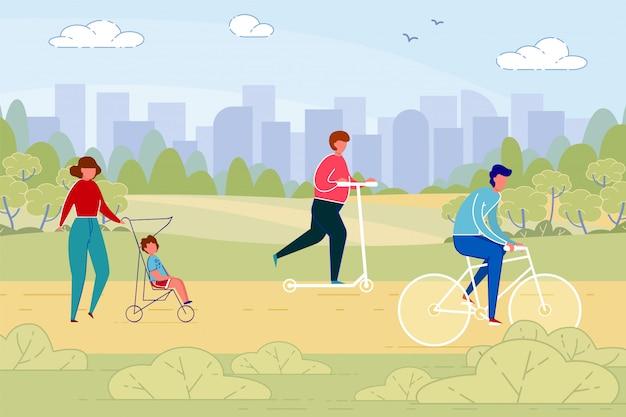 Mensen, stedelijke burgers in park op weekenddag.