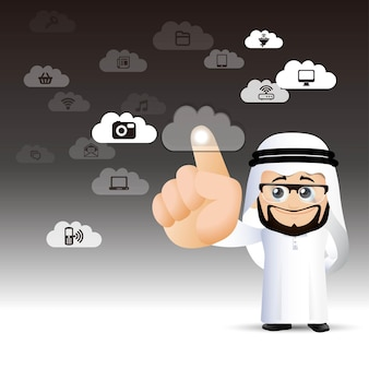 Mensen stellen arabische cloud computing-man in