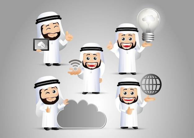 Mensen stellen arabische computermannen in