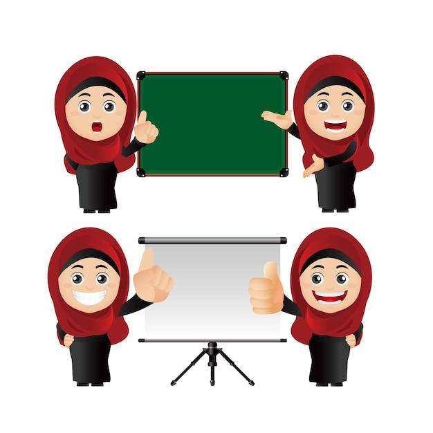 Mensen stellen arabische vrouwen in die presentatie geven
