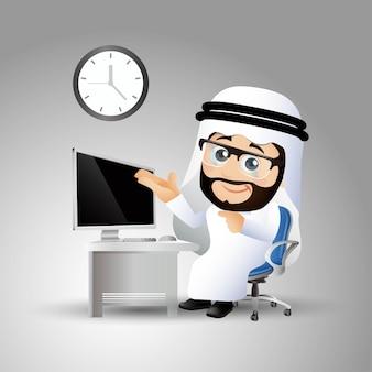 Mensen stellen arabische zakenlieden in