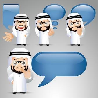 Mensen stellen arabische zakenman aan het praten tekstballonnen 1