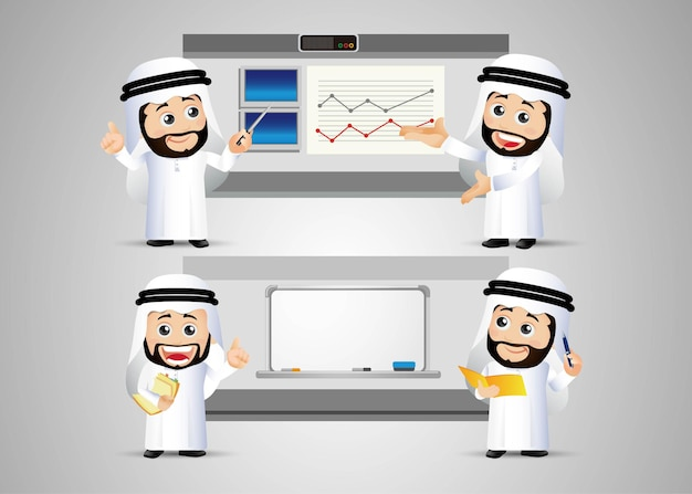 Mensen stellen arabische zakenman in met grafiek en bord
