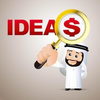 Mensen stellen arabische zakenmanideeën en dollar in