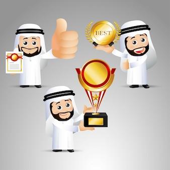 Mensen stellen arabische zegevierende kantoorman in