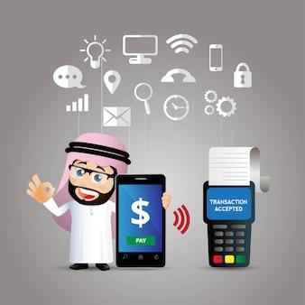 Mensen stellen mobiele betalingen in