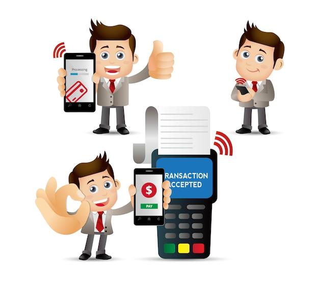 Mensen stellen mobil-betalingen in.