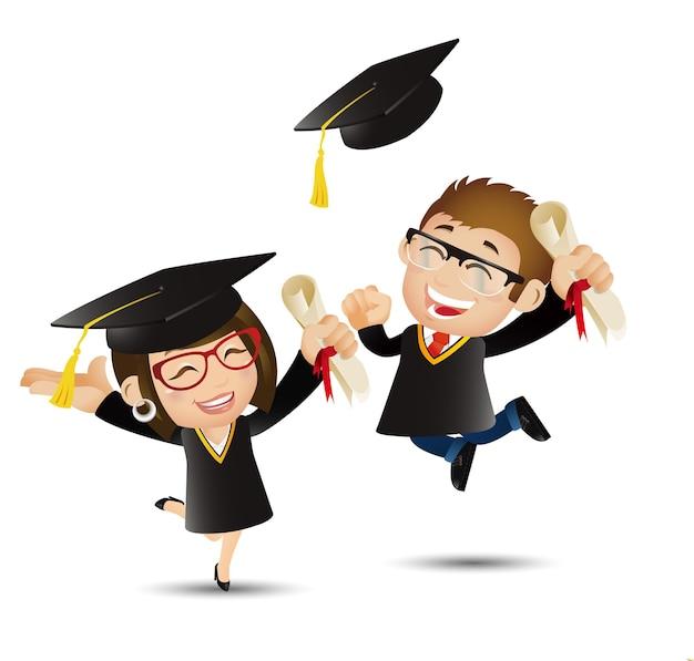 Mensen stellen onderwijs afgestudeerde student springt van vreugde en gooit met hun afstudeerpetten