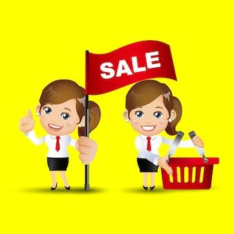 Mensen stellen zakelijke verkoop in