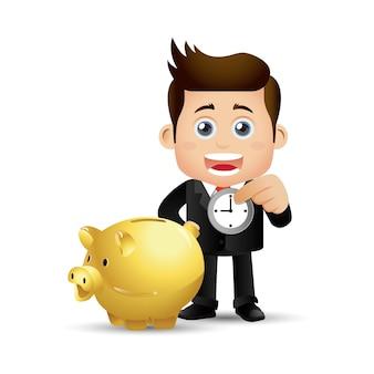 Mensen stellen zaken in zakenmensen steken tijd in het spaarvarken
