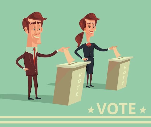 Mensen stemmen kandidaten van verschillende partijen cartoon vlakke afbeelding