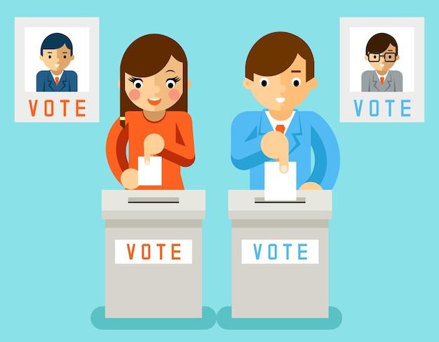 Mensen stemmen kandidaten van verschillende partijen. verkiezingen, stemming en politiek, keuzedemocratie