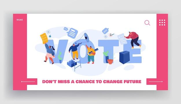 Mensen stemmen papieren stem in stembus. mannelijke en vrouwelijke personages, executierechten en plichten in het politieke leven van de landingspagina van de website, webpagina. cartoon plat, banner