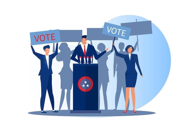 Mensen stemmen presidenten dag concept plat ontwerp