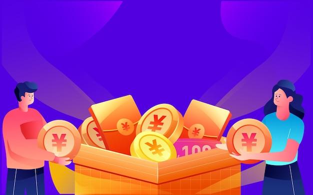 Mensen stoppen gouden munten in het materiaal van geschenkdozen