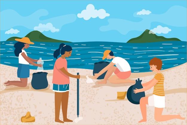 Mensen strand schoonmaken