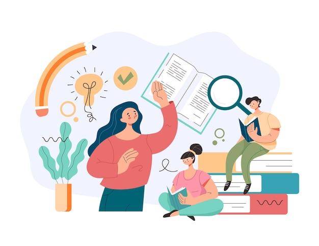 Mensen studenten karakters boek lezen en informatie zoeken en leren