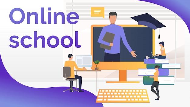 Mensen studeren op online school en leraar op computerscherm