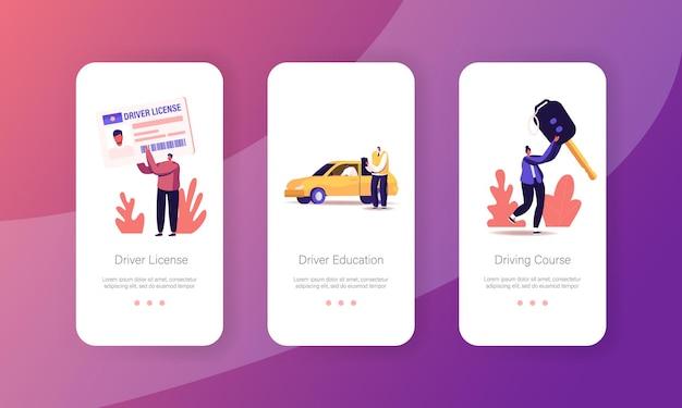 Mensen studeren op school voor rijbewijs mobiele app-pagina onboard-schermsjabloon