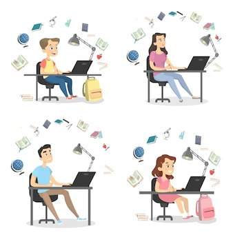 Mensen studeren set. studenten en leerlingen thuis.