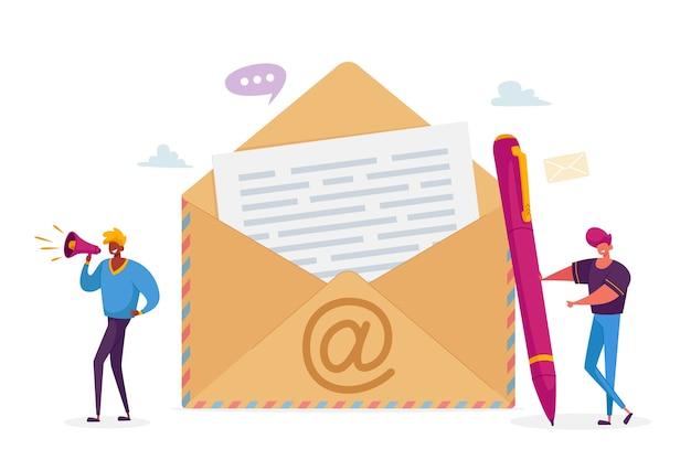 Mensen sturen e-mail naar vrienden of collega's concept.