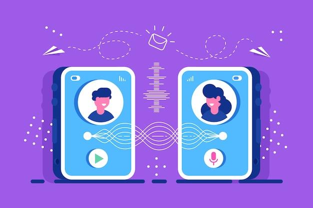 Mensen sturen elkaar bericht vanaf smartphone.