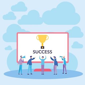 Mensen succes en winnaar vectorillustratie