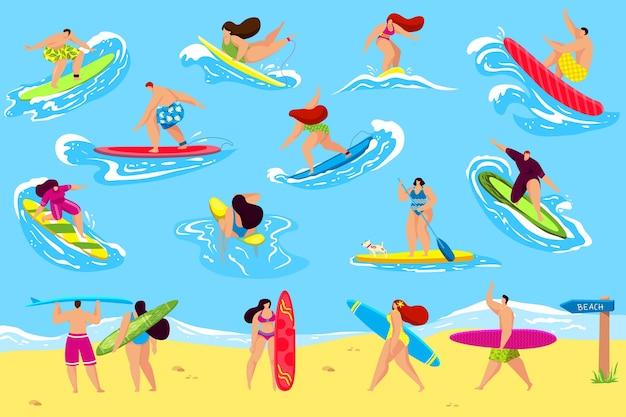 Mensen surfen illustratie set
