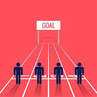 Mensen symbool op de startlijn van een race. zakelijke concurrentie illustratie