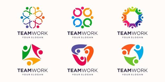 Mensen team logo met kleurrijk ontwerp. eenvoudig logo-ontwerpsjabloon