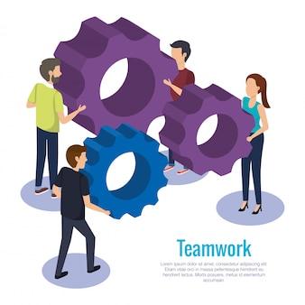 Mensen teamwerk met versnellingen