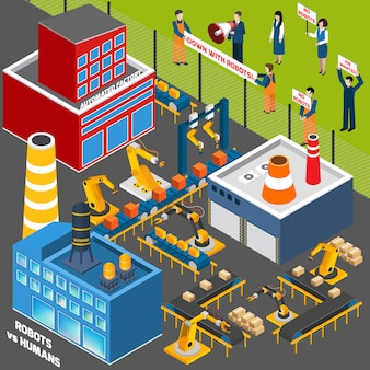Mensen tegen automatisering industrie
