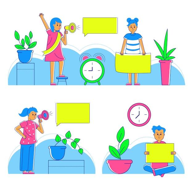 Mensen tekenset thuis, illustratie. vrouw meisje jongen met toespraak bubble concept, paar levensstijl. vrouw mannetje samen, tijd om binnen te praten.