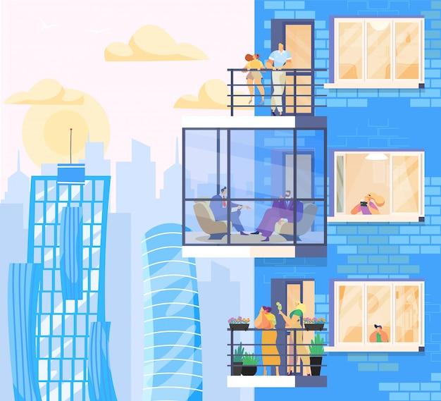 Mensen thuis, genieten van uitzicht op de stad vanuit moderne appartementen in wolkenkrabber, illustratie