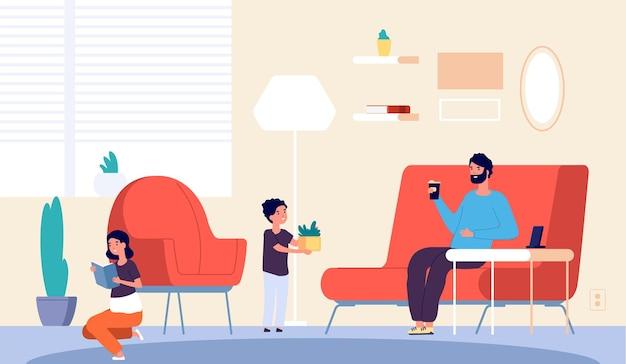 Mensen thuis. vader zoon dochter in woonkamer. isolatieperiode of quarantaine. meisje leesboek, jongen planten en man koffie drinken. vector illustratie. vader met zoon en dochter